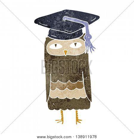 freehand retro cartoon wise owl