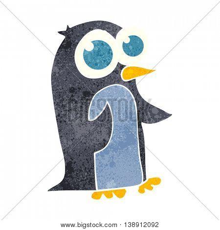freehand retro cartoon penguin with big eyes