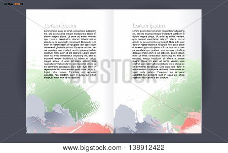 Abstract print A4 design in 2 parts with colored brush strokes for flyers banners or posters over silver background. Digital vector image.