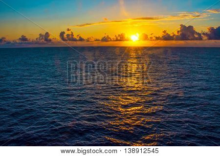 A sunrise view from a cruise ship on the North Atlantic.