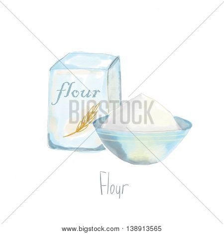 Watercolor illustration flour isolated on white background