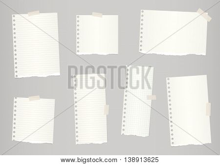 Pieces of light brown ruled and grid torn notebook paper are stuck with sticky tape.