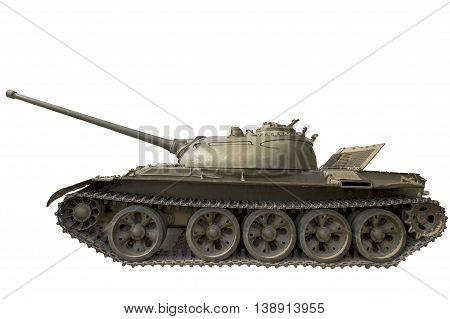Reinforced self-propelled vehicle on tracks with powerful weapons on a white background