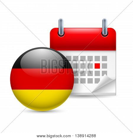 Calendar and round German flag icon. National holiday in Germany