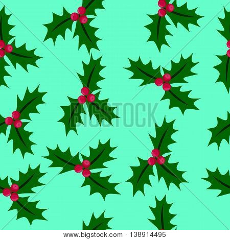 Christmas seamless pattern with holly berries on a turquoise background