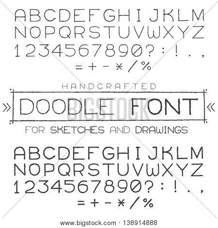 Vector Font Or Alphabet In Doodle Style With Numerals And Punctuation Marks.