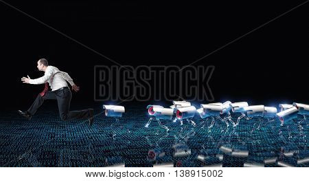 running man and cctv robot on binary code background