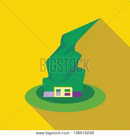 Witch hat icon in flat style on a yellow background