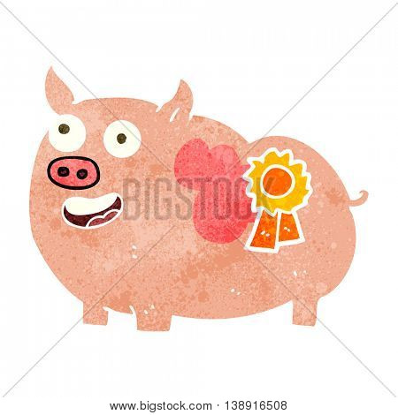 freehand retro cartoon prize winning pig