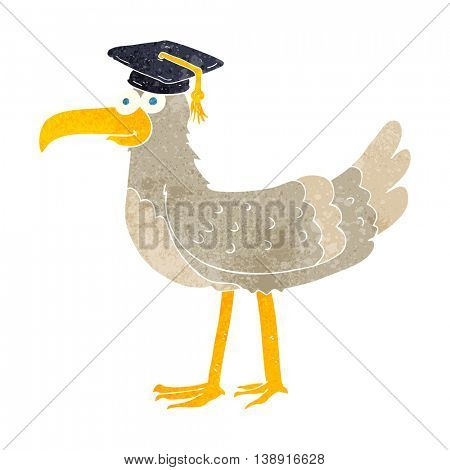 freehand retro cartoon seagull with graduate cap
