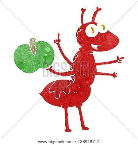 freehand retro cartoon ant with apple