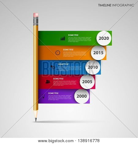 Time line info graphic with pencil and colored stripes template vector eps 10