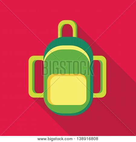 Green backpack icon in flat style on a pink background