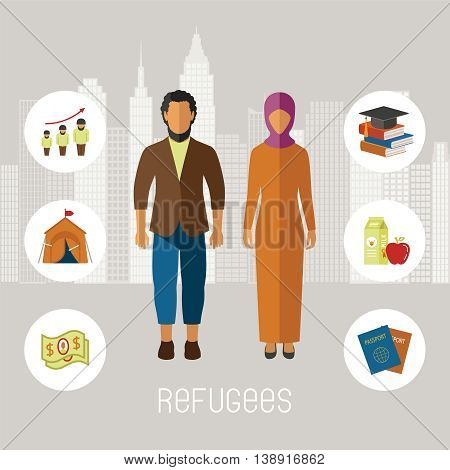 Civil War Refugees Vector Infographic Elements. Emigrants From Conflict Zones.