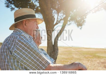Elderly Couple Relaxing Outdoors On A Summer Day