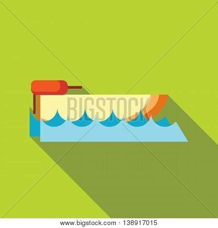 Powerboat icon in flat style on a green background