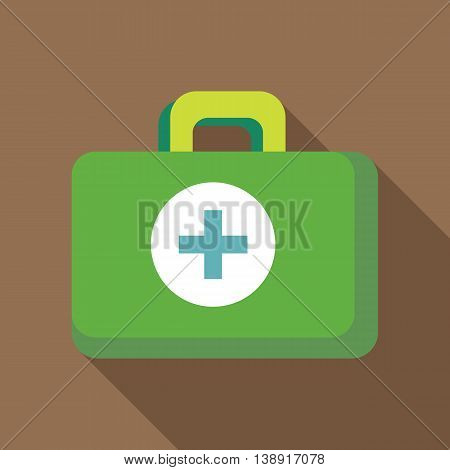 Green medicine chest icon in flat style on a coffee background