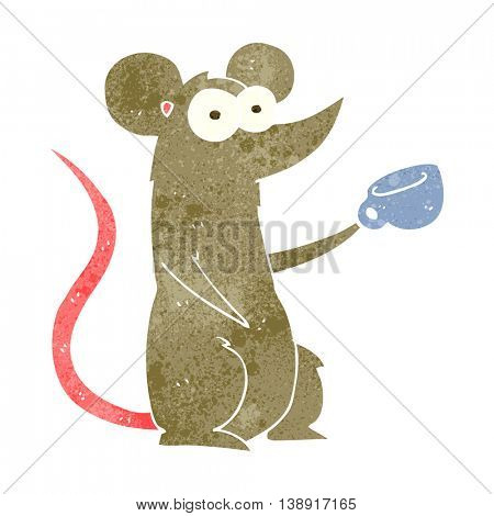 freehand retro cartoon mouse with coffee cup