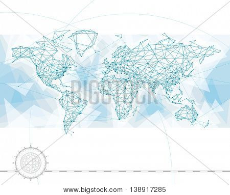 World map with global network connection lines.