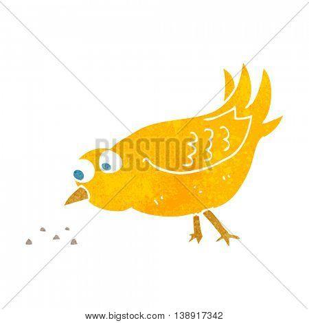 freehand retro cartoon bird pecking seeds