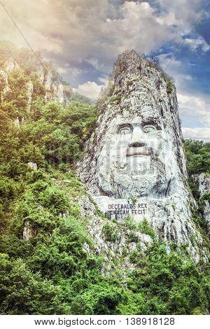 Statue Of Decebal's Face Near Danube River