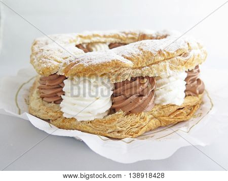 delicious cake filled with cream and chocolate