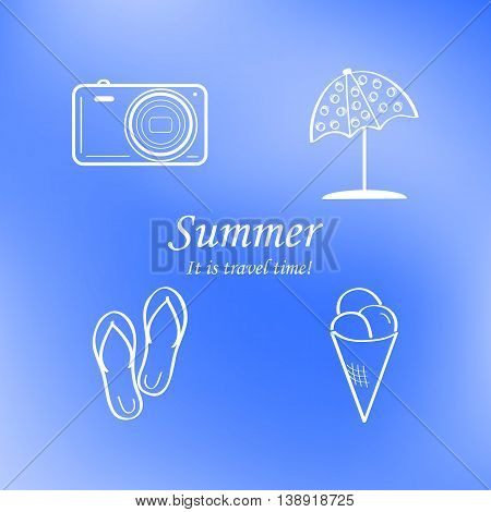 Summer and travel icon set on abstract blurred blue background. Travel design. Logo. Vector illustration.