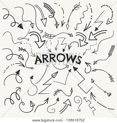 Set of Vector Black Hand Drawn Arrow Shaped Elements. Doodle Outlined Sketched Arrows, Pointers. Vector Illustration. Arrow Variation