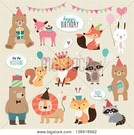 Set of cute cartoon animals for birthday card design