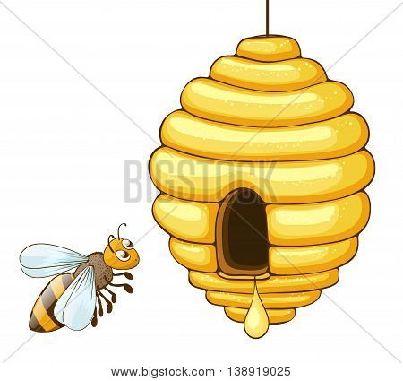 bee flying and beehive with honey drop. vector illustration