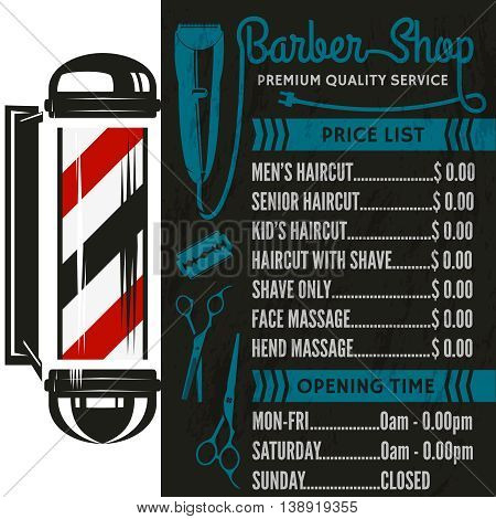 Barber Shop vector price list template. Haircut and shave retro barber sign on dark background.