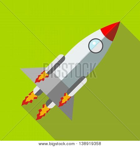 Rocket launch icon in flat style icon in flat style on a green background
