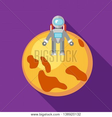 Astronaut on the moon icon in flat style on a purple background