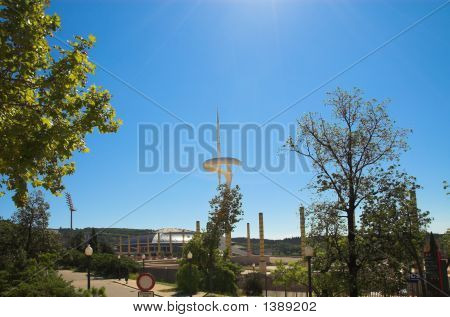Stadion In Barcolona And Telecom Tower