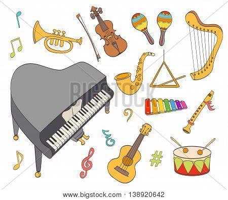 cartoon musical instruments set on whtie. vector illustration