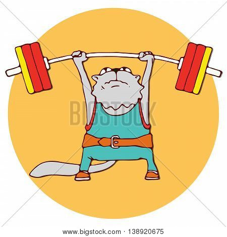 Cats athlete in sports wear. Weightlifter cat lifting the barbell. Funny animal sport sticker. Cartoon style. Vector illustration