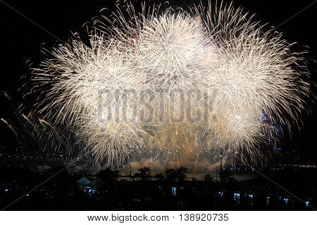 Big celebration fireworks on sky. International Fireworks. Fireworks display on dark sky background.
