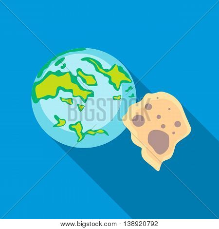 Earth and meteorite icon in flat style on a sky blue background