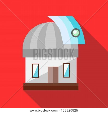 Observatory station icon in flat style on a red background