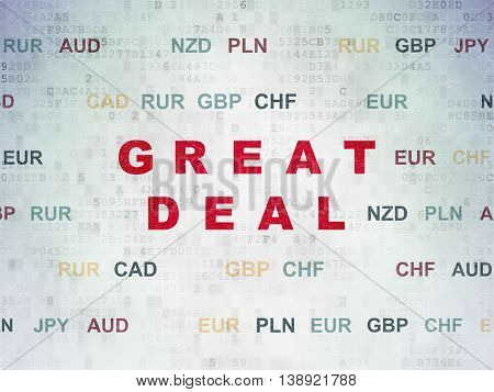 Finance concept: Painted red text Great Deal on Digital Data Paper background with Currency