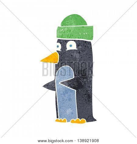 freehand retro cartoon penguin wearing hat