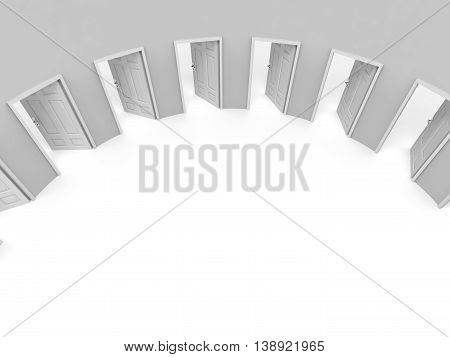 Exit on white background. Entrance. Choice. 3D Illustration.