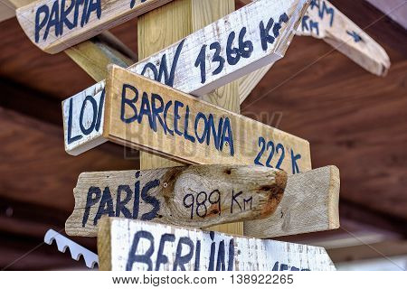 Barcelona Berlin London Paris wooden signpost - Selective focus and shallow depth of field