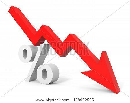 Graph Down Percent Sign Arrow.