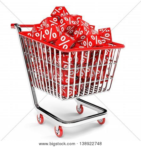 Shopping Cart With Red Cubes With Percent.
