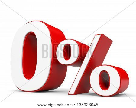Discount 0 percent off on white background. 3D illustration.