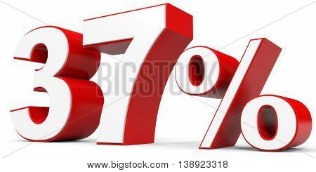 Discount 37 percent off on white background. 3D illustration.