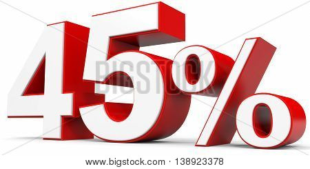 Discount 45 percent off on white background. 3D illustration.