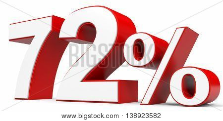 Discount 72 percent off on white background. 3D illustration.