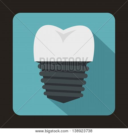 Tooth implant icon in flat style on a baby blue background
